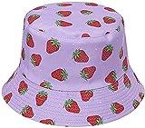 Sombrero de Pescador de Fresa para Adultos Sombrero de Pescador de Playa de Viaje con Estampado Rosa Sombrero de Pescador de Doble Cara de ala Ancha para Mujer 's Men' s-Purple Strawberry