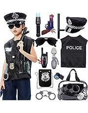 Tacobear Policía Disfraz Niño con Policía Equipo Policía Chaleco Gorra Placa Policía Esposas Gafas de Sol Walkie Talkie Policía Juguete Kit para Niños Halloween Fiesta Carnaval
