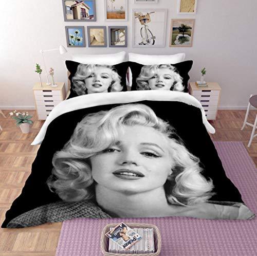 HANTAODG Juego de Ropa de Cama con Funda de edredón,Marilyn Monroe en Negro 150x200cm Funda de edredón de Microfibra y 2 Almohada Juego de edredón Regalo para Adolescentes Niñas
