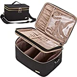 NISHEL Double Layer Travel Makeup Bag with Strap, Large Cosmetic Case Organizer Fits Bottles Vertically, Top Layer for Brushes, Tweezers, Eyeliner, Black