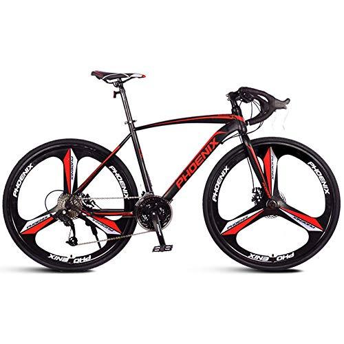 AZYQ Bici da strada per adulti, bicicletta da corsa per uomo con doppio freno a disco, bicicletta da strada con telaio in acciaio ad alto tenore di carbonio, bici da città, bianco, 21 velocità,Nero,2