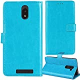Lankashi Stand Premium Retro Business Flip Leather Case Protector Bumper for BLU View 2 B130DL 5.5' Protection Phone Cover Skin Folio Book Card Slot Wallet Magnetic(Blue)
