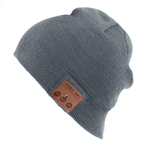 Sombrero Bluetooth gorro de punto inalámbrico gorra de invierno de música unisex cálido auricular con altavoz estéreo Auriculares y micrófono para deportes al aire libre (Gris)