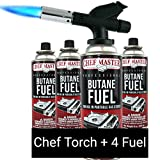 Chef Master 90014 Butane Torch Includes 4 x Fuel Canisters | Chef's Kitchen Torch | Fits 8 oz Butane Cans | Adjustable Flame Control | Automatic Ignition | INCLUDES 4 x 8 Ounce Butane Canisters