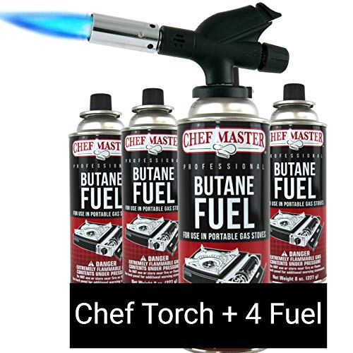 Chef Master 90014 Butane Torch Includes 4 x Fuel Canisters | Chef