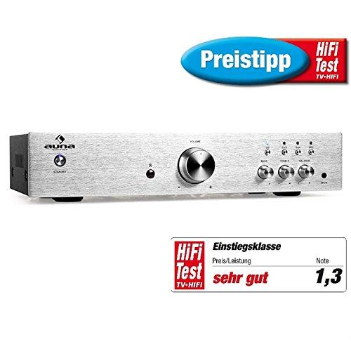 auna AV2-CD508 - Amplificateur audio Hifi , Home-cinéma , Chaîne stéréo , Amplificateur stéréo , 600 Watt de puissance maximale , Égaliseur à 2 bandes , Aux-In , 3 entrées stéréo-RCA-Line , Argent