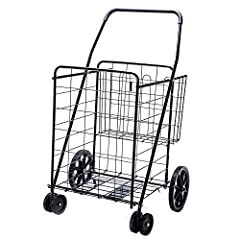 Made of heavy-duty steel; Foldable Features double front swivel wheels; Oversized wheels Features 2 baskets; Handle with soft grip Thick gauge steel on wheel axles Capacity of 200 pounds