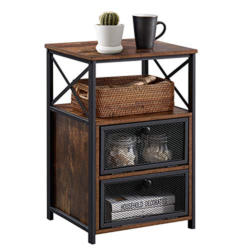 VECELO Night Stand, End Side Table with Storage Space and Door,Modern Nightstands for Living Room,Bedroom, Brown