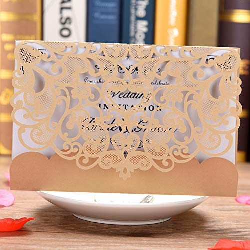 Mariage carte d'invitation Lot de 50Eleva découpé au laser Invitation de mariage kit avec vierge papier imprimable et enveloppes Doré