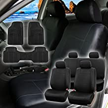 FH Group PU001114 + F11306 PU Leather Seat Covers (Black) Full Set – Universal Fit for Cars Trucks & SUVs