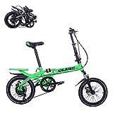 Bicicleta Plegable para Adultos, 14 Pulgadas, Que Ahorra Mano de Obra, amortiguadora, para pasajeros, 6 velocidades, Velocidad Variable, Plegable, rápido, Ajustable, Doble Disco, 4 Colores, Molino r
