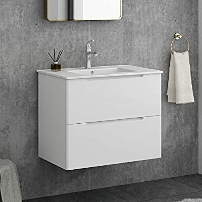 "Modern 29""White Wall-Mounted Bathroom Vanity,2-Drawers Bathroom Sink Storage Cabinet Vanity Combo Set with White Integrated Ceramic Countertop Vessel Sink"