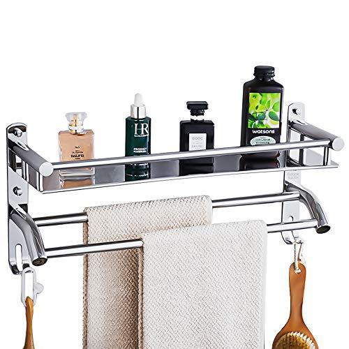 Scaffale da bagno, montaggio a parete, in acciaio inox Sus304, con porta asciugamani da bagno, mensola da parete, mensola da bagno, mensola da cucina,