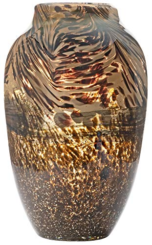 Handmade & Mouthblown Brown & Gold Glass Decorative Flower Vase for Home Decor – Centrepiece or Floor – 11.8 inch/30cm Tall – Living Room, Dining Table, Statement, Hallway, Office, Decoration