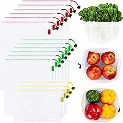 small Ecowaare 15 reusable mesh grocery bags, a set of 3 sizes washable transparent grocery bags, …