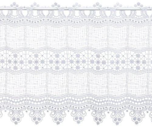 Plauener Spitze by Moda Punta 69348_45_w Corta Tenda in Design, Material 100% Poliestere, Altezza 45 cm, Bianco, Bianco, Breite 112 cm