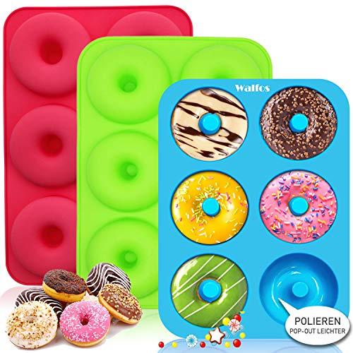 Walfos Silikon Donut Formen, silikon Donut backform Antihaft Donut Backblech für Kuchen Bagels Muffins, Geeignet für Geschirrspüler, Backofen, Mikrowelle(3 Stück 6 Cup Regular Donut Pan)