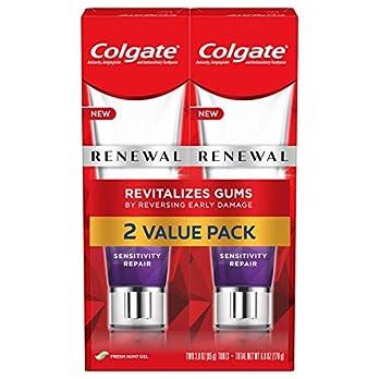 Colgate Renewal Gum Toothpaste for Gum Health, Teeth Sensitivity Repair, Fresh Mint Gel – 3 ounce (2 Pack)