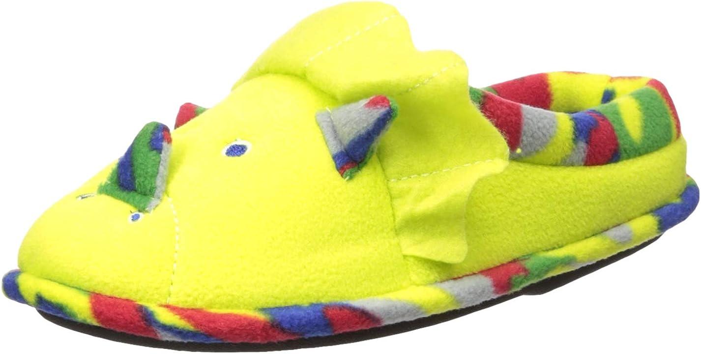 Dearfoams Unisex-Kid's Animal Character Clog Slipper, Green Dinosaur, 4-5 Big Kid Medium US Big Kid