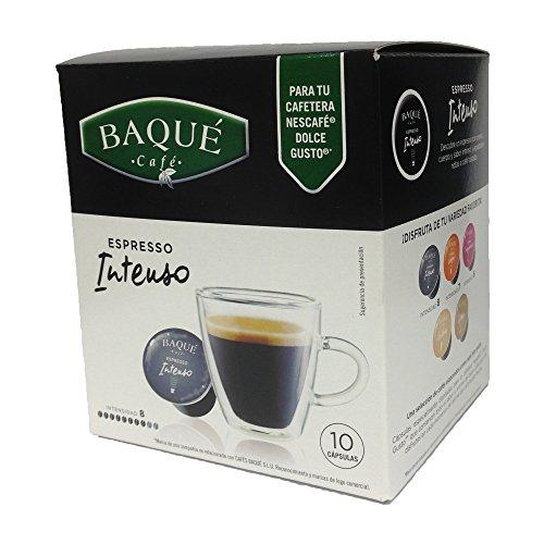 Cafés Baqué - 10 Capsulas Compatibles Dolce Gusto. Espresso Intenso
