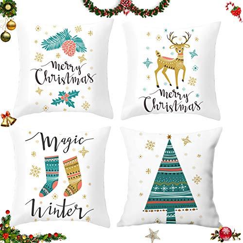Sunshine smile 4 pcs Fundas navideñas para Cojines,Fundas para Cojines de Sofa,Funda de Almohada de Navidad,Funda de Almohada decoración para hogar,Funda de Almohada Decorativa (A)