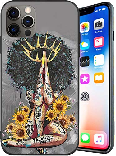 Compatible with iPhone 12 Pro Max Case,Black Queen with Sunflowers Creative Pattern for Women Girls Case,Soft TPU Shockproof Full Body Protection Case for iPhone 12 Pro Max 6.7 Inch