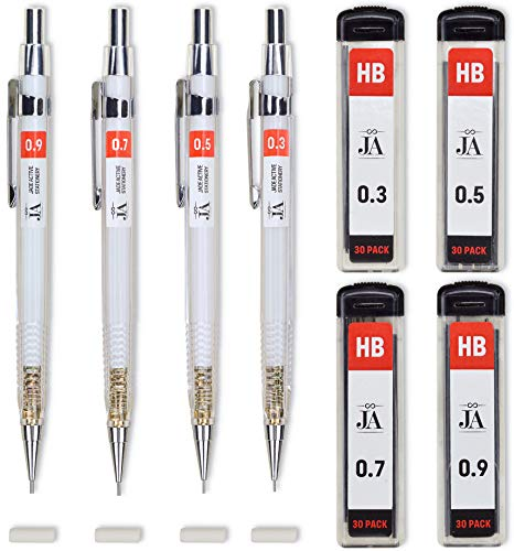 Drafting Pencil Set  Each Mechanical Pencil with Erasers  Mechanical Pencils in 03 05 07 09 mm Thicknesses  With 30 Lead Refills for each Drawing Pencil