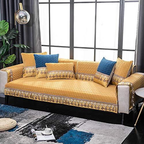 YUTJK Salón de sofá, Fundas de Asiento de sofá de Tela para Sala de Estar, Funda Protectora de Muebles, Toalla de Funda de sofá de Felpa Borla, para sofá de 1/2/3/4 plazas, Caqui