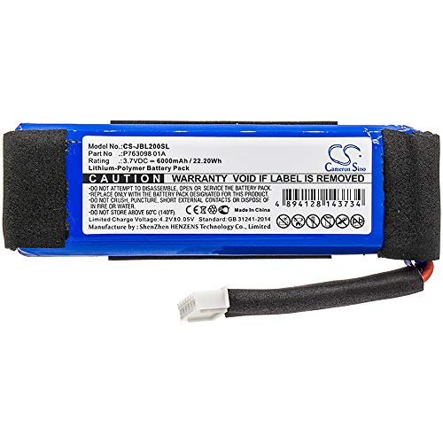 6000mAh Li-Polymer Replacement Battery for JBL Link 20, fits Part no P763098 01A 3.7V