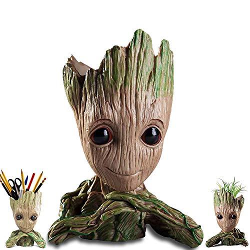 Baby Groot Model, Groot Vaso, Groot Portapenne, Figure del Film Classico-Sono Groot per Statuetta Decorativa, per Fan, Giocattolo a Forma di Penna, Vasi di Fiori, Regali per Bambini (mento)