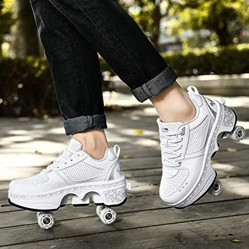 SHANGN Patines De Ruedas Retráctiles De Doble Hilera Zapatillas Deportivas para Correr Al Aire Libre con Led Zapatos De Deformación Multifuncionales para Regalo De Niños,White-EU38