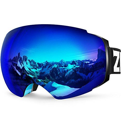 ZIONOR X4 Ski Snowboard Snow Goggles Magnet Dual Layers Lens Spherical Design Anti-Fog UV Protection Anti-Slip Strap for Men Women (VLT 13.67% Blue Frame Revo Blue Lens)