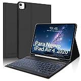 Teclado para iPad Air 4 10.9 Pulgadas(2020),SENGBIRCH Funda con Retroiluminación Español Teclado Bluetooth para iPad Air 4/iPad Pro 11 2020/2018, Inteligente Carcasa con Auto-Sueño/Estela,Negro