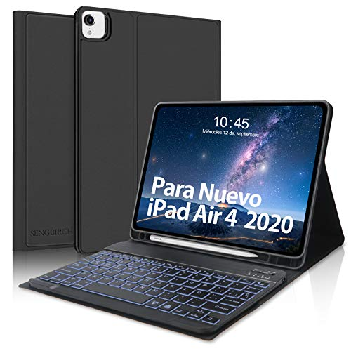 SENGBIRCH Teclado Español para iPad Air 10.9 Pulgadas 2020, Funda con Teclado Bluetooth para iPad Air 4/ iPad Pro 11 2021/2020/2018, Inteligente Keyboard Retroiluminación, Negro