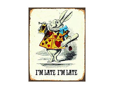 Ecool väggskylt Alice in Wonderland Rabbit I m Late Retro Shabby Chic Vintage Stil Bild Metallskylt 200 mm x 150 mm
