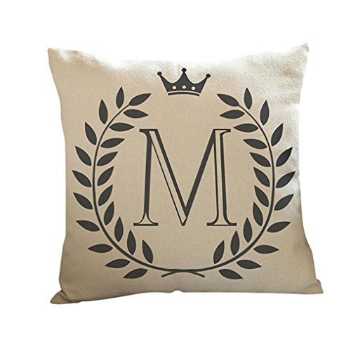 Kissenbezug 45 x 45 cm Brief A-Z Drucken Dekokissen Fall Sofa Home Decor Pillow Cover LuckyGirls (M)