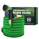Joey's Expandable Garden Hose with 8 Function Hose Nozzle, Lightweight Anti-Kink Flexible Garden Hoses, Extra Strength Fabric with Double Latex Core (50 FT, Green)