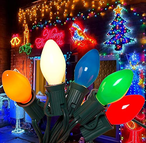 SkrLights 25Ft Christmas Lights C7 Ceramic Vintage Multicolor Lights with 27 Colorful Incandescent Bulbs (2 Spare), Outdoor String Lights for Christmas Party Backyard Wedding etc, Green Wire