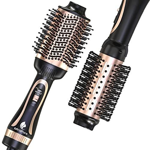 Hair Dryer Brush, MiroPure Hot Air Brush One Step Hair Dryer & Volumizer Brush Blow Dryer Styler for Straightening, Curling, Salon Negative Ion Blow Dryer Brush Rose Gold