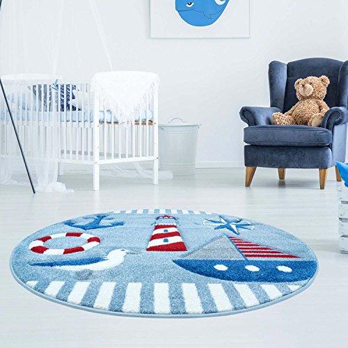 carpet city Kinderteppich Bueno Maritim Anker Schiff Möwe in Blau, Rot mit Konturenschnitt für Kinderzimmer; Größe: 160 cm Rund