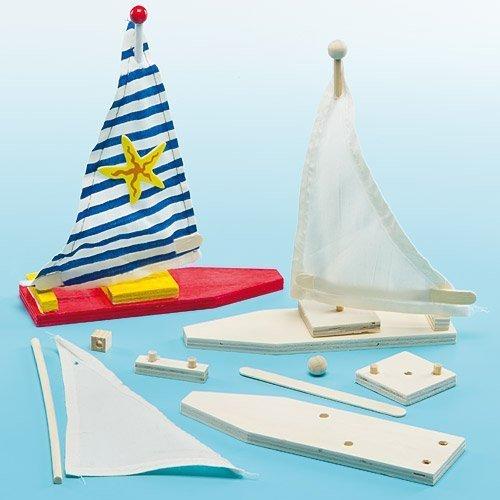 """Baker Ross Holz-Bastelsets """"Segelboot"""" - für Kinder zum Basteln und Bemalen - toll als Dekoration (2 Stück)"""