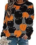 Minetom Maglietta Manica Lunga Donna Halloween Stampata Camicia T-Shirt Sportivi Girocollo Maglie Pullover Primavera Sweatshirt Felpe Tops A1 Grigio XXL