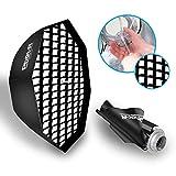 Phot-R Professional Achteckige Softbox / Reflektor für Fotoshootings, 80cmmit Bowens S-Typ-Speed-Ring & Wabenraster, schwarz