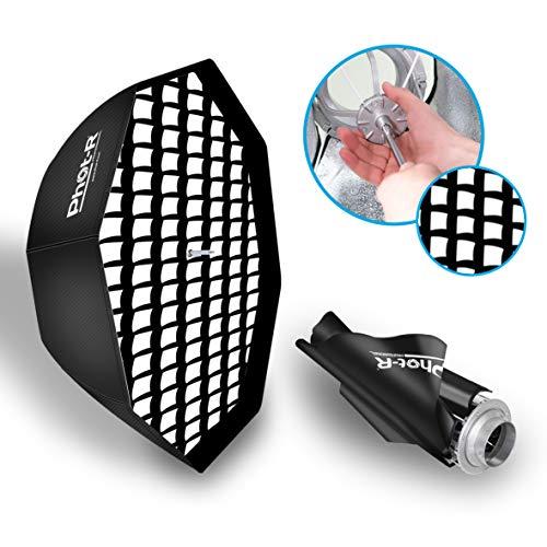 Phot-R 80cm Faltbare Schirm-Octabox Softbox Bowens S-Typ Mount Speedring + Innen- und Außendiffusoren 31