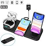 Latest 2020 Wireless Charger, 6 in 1 Wireless Fast Charging Station for Apple Watch/AirPods Pro/iPhone SE 2020/iPhone X/XS/XS Max/XR/8/8 Plus/iPhone 11/11 Pro/11 Pro Max Samsung S20/S10/S9/S8/S7