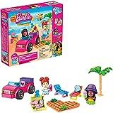 Mega Construx Barbie Playa Malibú, muñecas y coche de juguete de bloques de construcción con accesorios Mattel GWR79