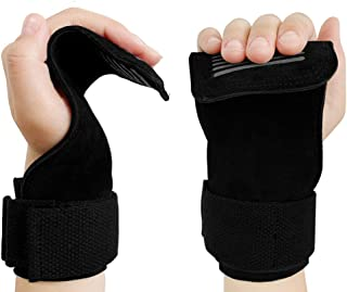 Zaro パワーグリップ 筋トレ グローブ トレーニンググリップ 本革材質 滑り止め 握力補助 左右セット (黑)