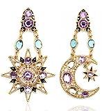 JoJo & Lin 18K Real Gold Plated Heavenly Body Asymmetrical Earrings Vintage Sun Moon Design Crystal Drop Dangle Earrings for Women Statement Earrings