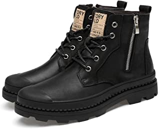 Men's Military Boots,Outdoor Walking Hiking Combat Boots High-Tops Lace- up Biker Boots,Black A-38/UK 5.5/US 6.5