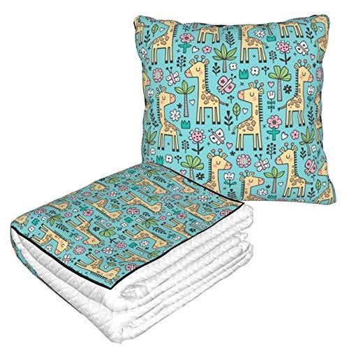 Manta de almohada de terciopelo suave, 2 en 1 con bolsa suave, diseño de jirafa, flores, mariposas, árboles en U, funda de almohada azul para casa, avión, coche, películas de viaje